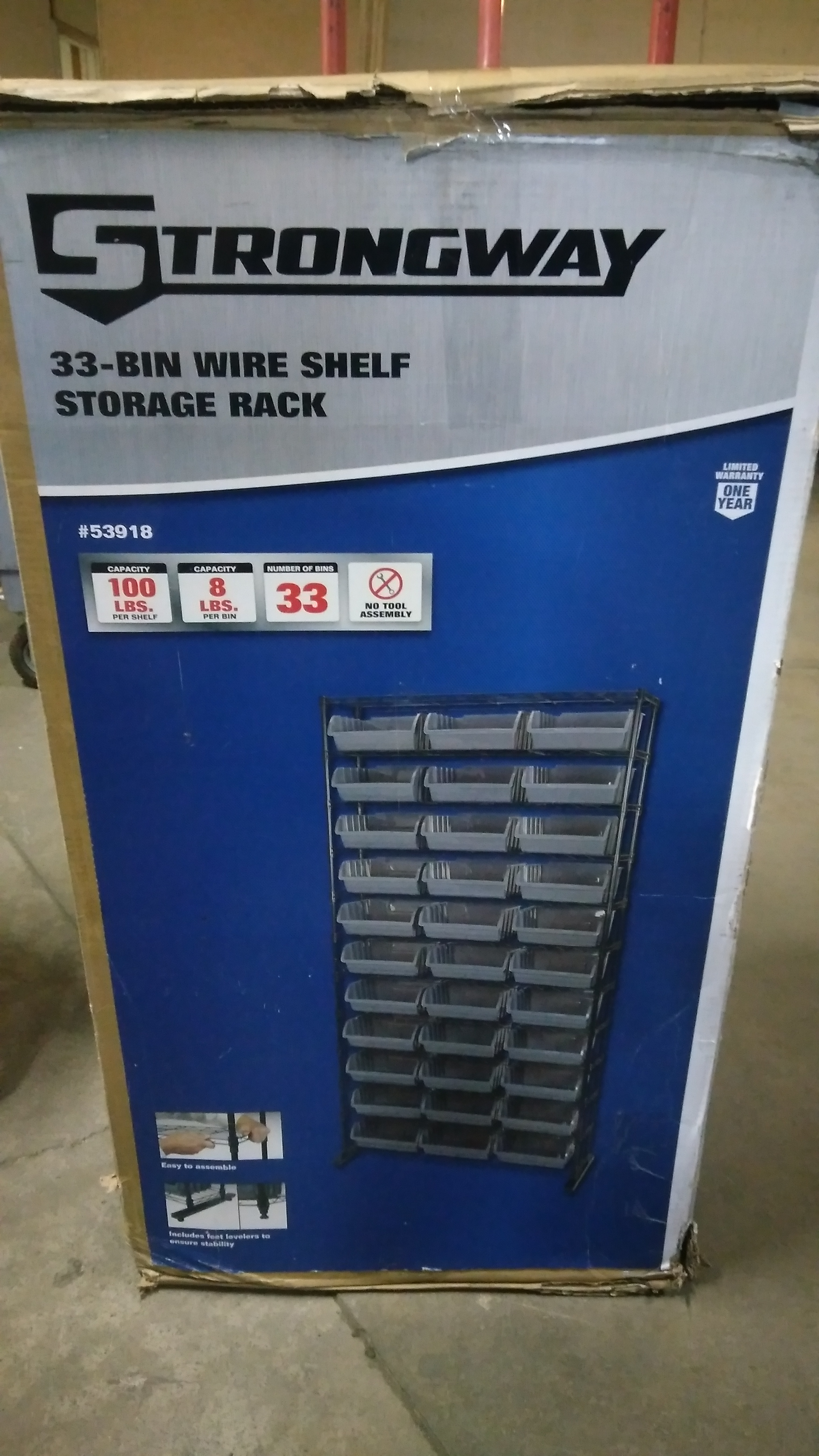 12-Tier Single Side Wire Shelving Unit with 33 Bins | Yoder Tools
