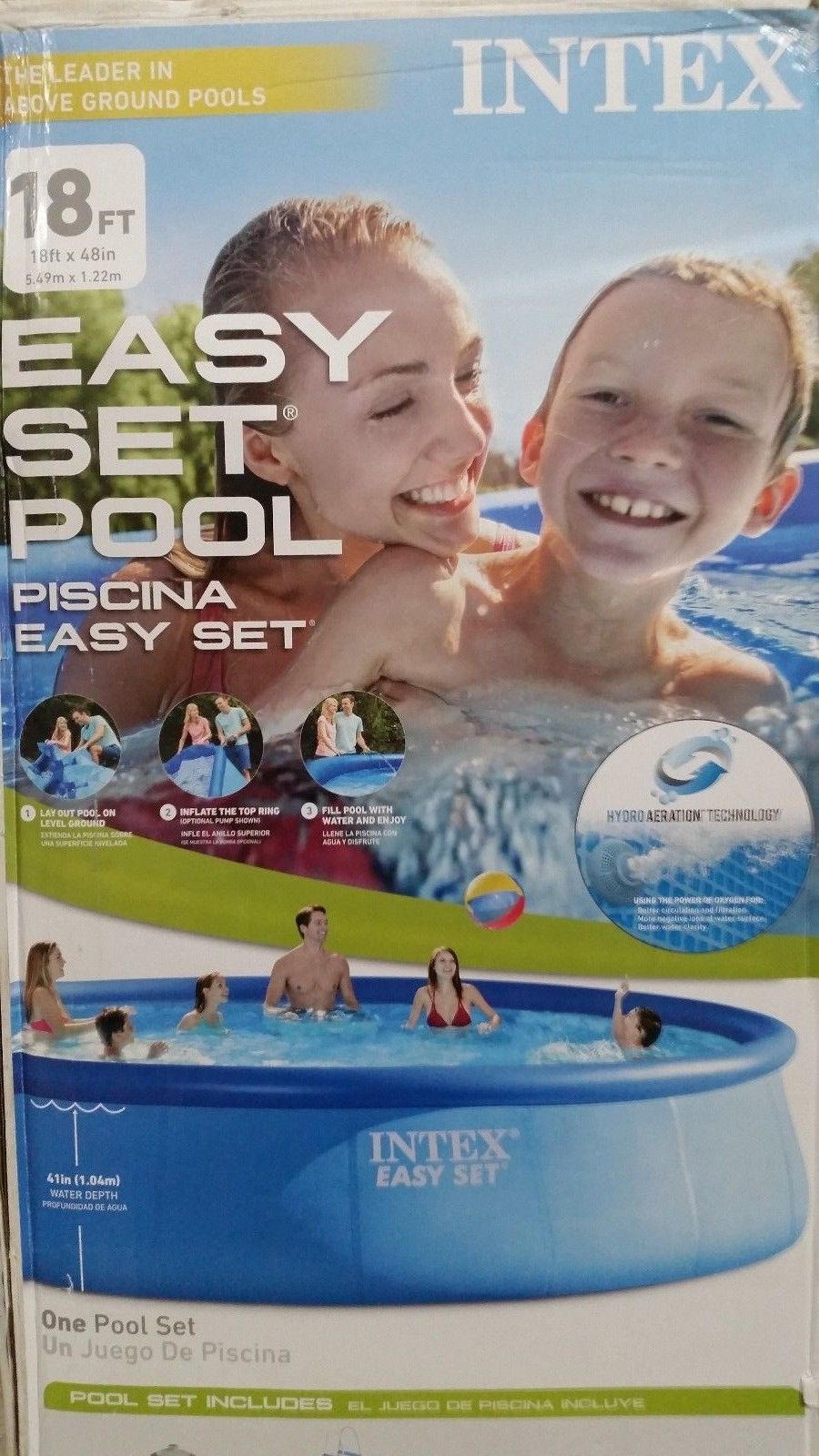 Care Intex Easy Set Above Ground Pool 18ft Dia X 48in H