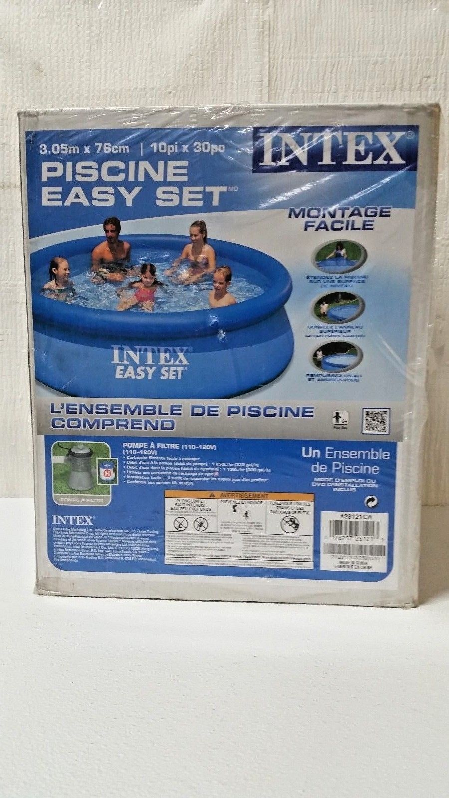 Intex Easy Set Above Ground Swimming Pool — 10ft. Dia. x 30in.H